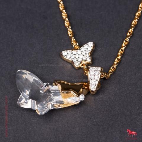 e8dfcc39bc3ee Ketting met vlinders lang model - Kristalwereld.com
